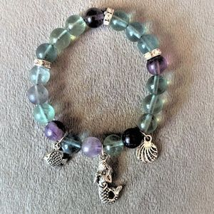 Aqua Sea Gemstone Charm Bracelet